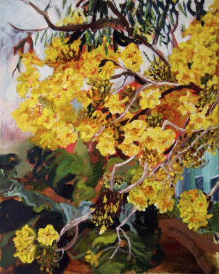 April Yellow Elder with Turqouise House, 2011