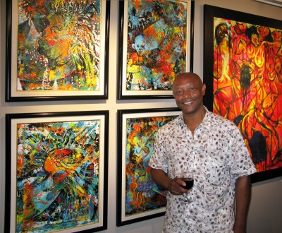 Antonius Roberts in front of his work